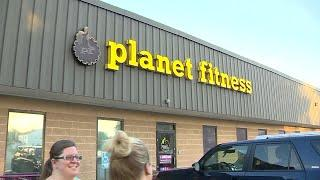 Man does yoga naked in Planet Fitness