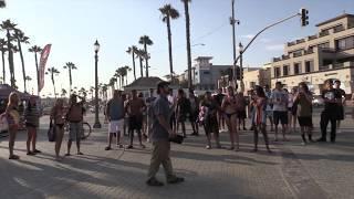 Street Preacher Rebukes Half Naked Girls in Bikinis @ US Open of Surfing Huntington Beach