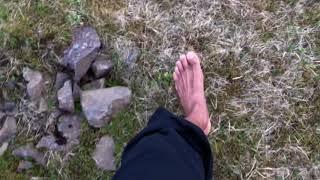 Naked walk gently on Iceland nature
