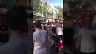 French people celebrating winning 2018 world cup on the street, naked men running.