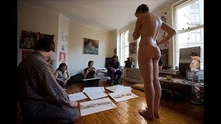 Naked Life drawing with London nude drawing @ waterloo action center London UK video with model girl