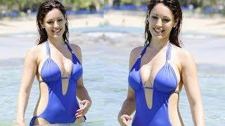 Kelly Brook Hot In Pink Bikini And Blue Swimsuit Stunning Look 2018