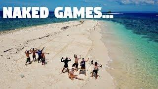 FILIPINOS AND FIGHTER BOYS PLAYING GAMES ON NAKED ISLANDS IN THE PHILIPPINES...