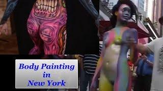 Women getting nude Body Painting in New York
