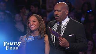 Wanda needs only ONE POINT for $20,000! | Family Feud