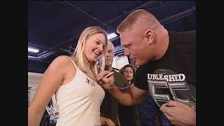 Brock Lesnar Signs A Girl's Boobs + Torrie & Sable Naked In The Shower: SmackDown, April 10, 2003