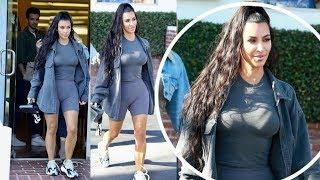 Kim Kardashian goes full-on Yeezy in tight tee and shorts for shopping trip in Beverly Hills
