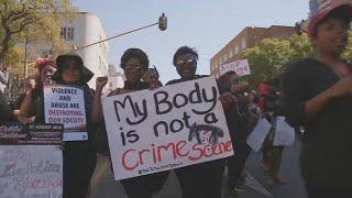South African women protest against gender-based violence