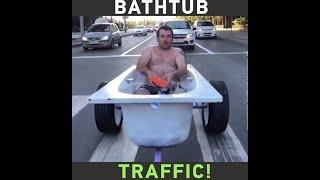 Meanwhile in Russia: Semi-naked man rides a bathtub in Siberia