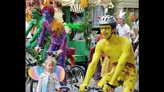 White men and women on painted bodies Cycling Racing Naked in public