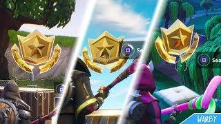 Fortnite Battle Royale - All Secret Season 5 Battle Stars Locations (Free Battle Pass Tiers)